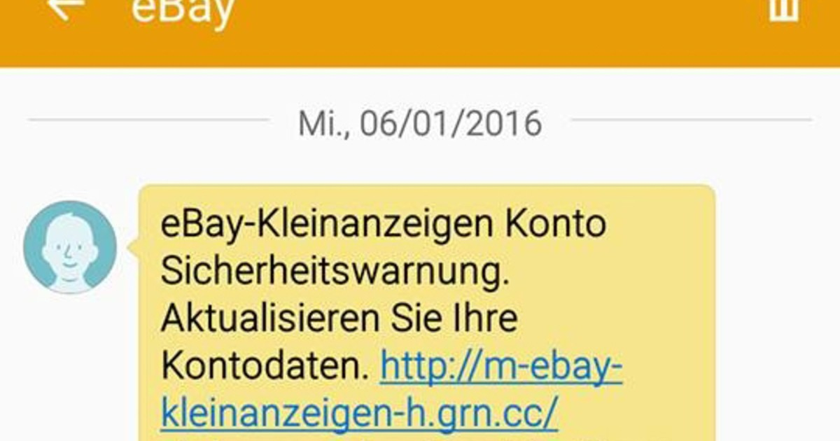 ebay kleinanzeigen h ufung von phishing f llen per sms. Black Bedroom Furniture Sets. Home Design Ideas