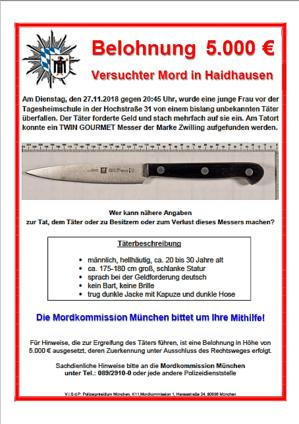 5.000 Euro Belohnung für Hinweise zum Täte oder der Tatwaffe eines veruschten Mordes in München Haidhausen. Die Mordkommission München bittet um Hilfe. Zusehen ist ein Messer der Marke Zwilling und eine Beschreibung des Täters, © Polizeipräsidium München