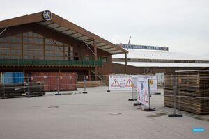 Oktoberfest 2014 Aufbau Wiesn Löwenbräu Festzelt