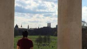 Die Aussicht vom Monopteros aus dem Englischen Garten.