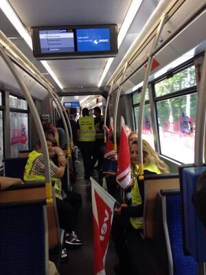 """""""Rettet Bus & Bahn"""": Verdi will die Finanzierung des öffentlichen Nahverkehrs sicherstellen."""