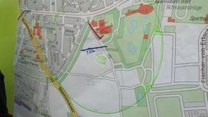 Bombenfund - ein bestimmtes Gebiet muss evakuiert werden , © Sperrgebiet auf der Karte