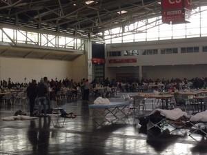 Matrazenlager der Flüchtlinge auf dem Messegelände