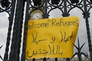 © Schild von Demonstration beim Palace of Westminster - London
