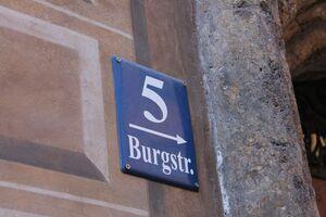 Burgstraße nummer 5 straßenschild