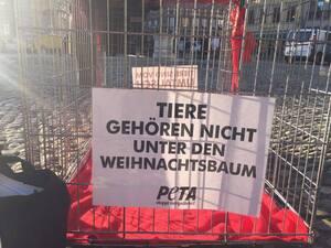 """© """"Tiere gehören nicht unter den Weihnachtsbaum"""" - Plakat bei der PETA-Aktion"""