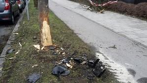 Ein Auto hat einen Baum angefahren