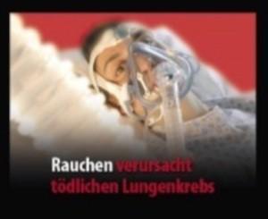 """Bild eines Patienten mit aufgestzter Atemmaske und Aufschrift: """"Rauchen verursacht tödlichen Lungenkrebs"""", © Europäische Kommission"""
