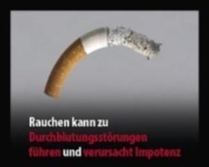 """Bild mit einer verbogenenen Zigarette und der Aufschrift: """"Rauchen kann zu Durchblutungsstörungen führen und verursacht Impotenz"""", © Europäische Kommission"""