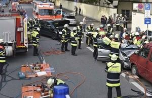 Einsatzort der Feuerwehr am Unfallort, © Einsatzfoto der Feuerwehr München