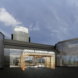 Haupteingang der Jochen Schweizer Arena., © Foto: OSA+ Ochs Schmidhuber Architekturgesellschaft mbh