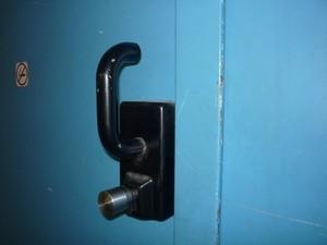 Das Türschloss, das nicht beschädigt wurde., © Foto: Bundespolizei