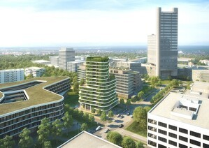 """Visualisierung des Bauprojekts """"grünes Hochhaus"""" in München, © Arabellastraße 26 - Liegenschaftsverwaltungs GmbH & Co. KG"""