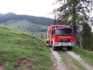 Kuh verirrt sich auf Baugerüst - von Feuerwehr gerettet , © Foto: Freiwillige Feuerwehr Flintsbach a.Inn