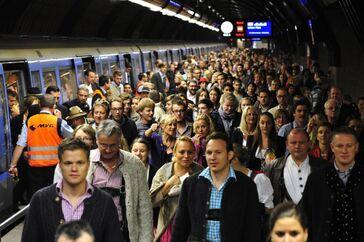 Oktoberfest Menschenmassen in Wiesn Ubahnstation, © Rechte: MVG/SWM