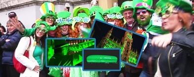 St-. Patrick's Day mit Grrenings (grün beleuchtete Gebäude) in München