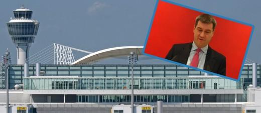 Flughafen München und Markus Söder, © Markus Söder will die dritte Startbahn - Foto: Flughafen München - Werner Hennies
