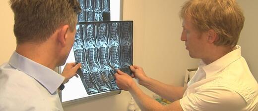 Ärzte schauen sich eine Röntgenaufnahme an