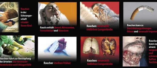 Collage verschiedener Zigaretten-Warnhinweise , © Europäische Kommission