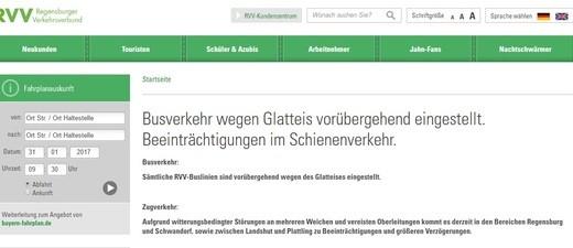In vielen Teilen Bayerns fällt die Schule heute wetterbedingt aus - Blitzeis erschwert die Fahrt der Schüler und Busse., © In Regensburg wurde zwischenzeitlich der Bus-Verkehr eingestellt - Screenshot RVV