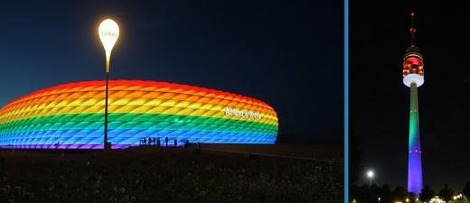 Die Allianz Arena und der Münchner Olympiaturm in Regenbogen-Farben, © Foto: Allianz Arena/B. Ducke / Olympiapark München