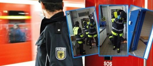 Feuerwehr musste die Tür der Gewahrsamszelle aufflexen - Bundespolizei, © Fotos: Bundespolizei, Montage: münchen.tv