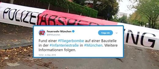 Fliegerbombe in der Infanteriestrasse in München