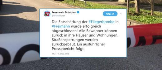 Mitteilung der Feuerwehr: Fliegerbombe in München-Freimann erfolgreich entschärft
