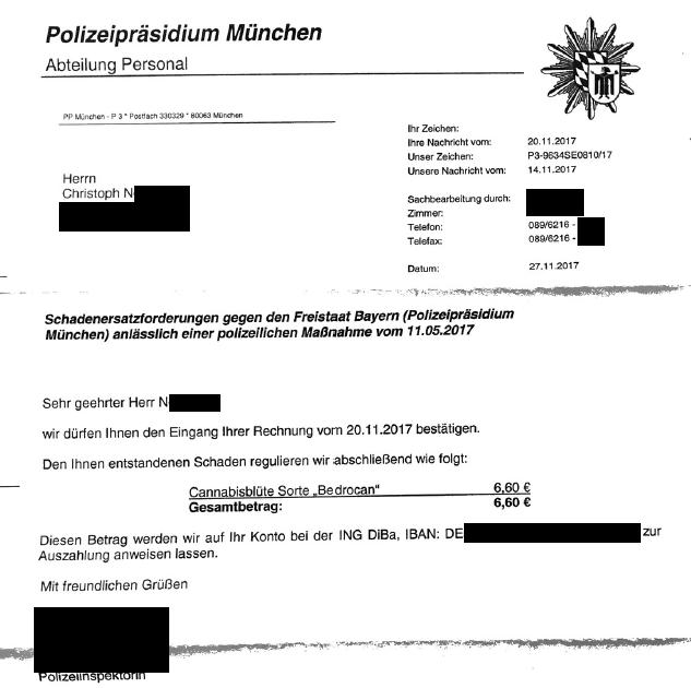 Ganze 6,60 Euro überwies die Polizei dem Patienten Christoph N.