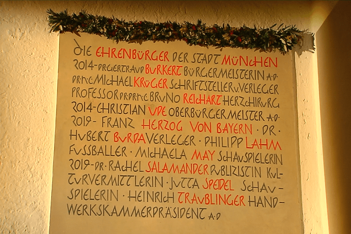 Ehrenbürger Tafel im Alten Rathaus