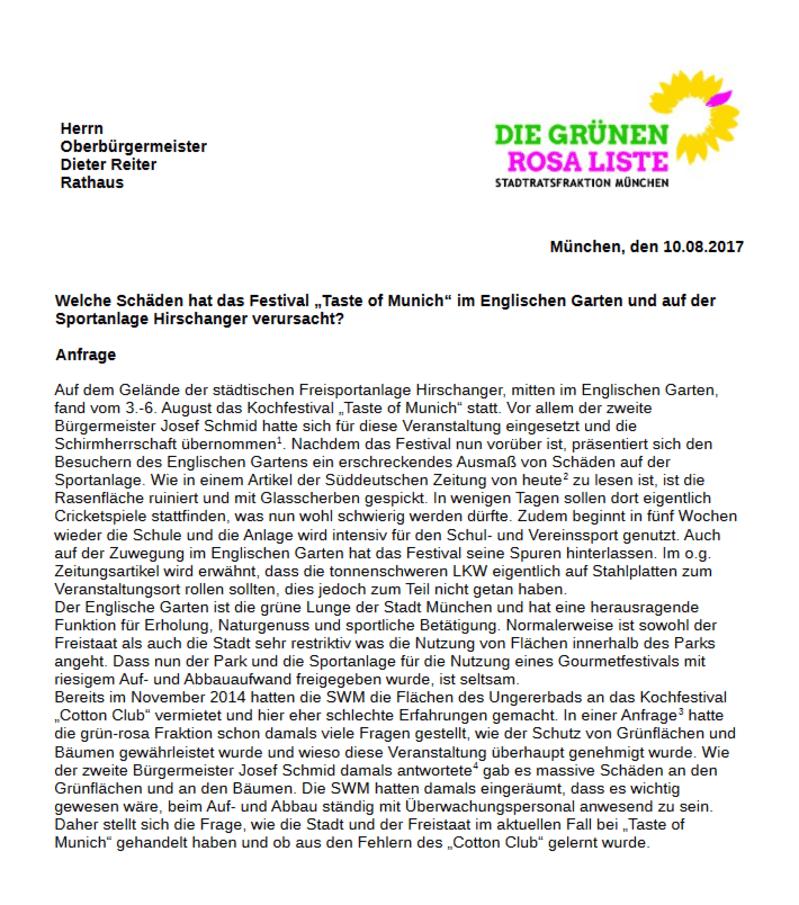 Anfrage der Stadtrats Grünen zum Taste of Munich, © Rathausumschau vom 11.8.2017