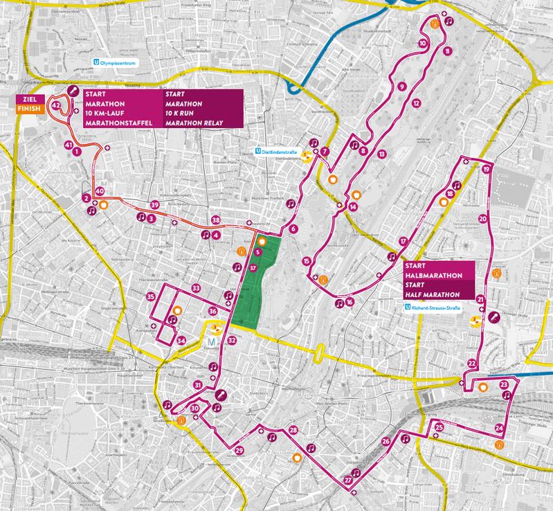 München Marathon Strecke, © Streckenplan: OpenStreetMap Mitwirkende
