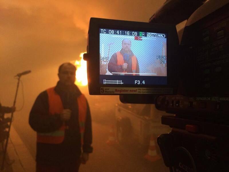 Brandmeldeübung im Luise-Kiesselbach-Tunnel, © Verraucht: München.tv Reporter Markus Haiß bei der Brandmeldeübung im Luise-Kiesselbach-Tunnel