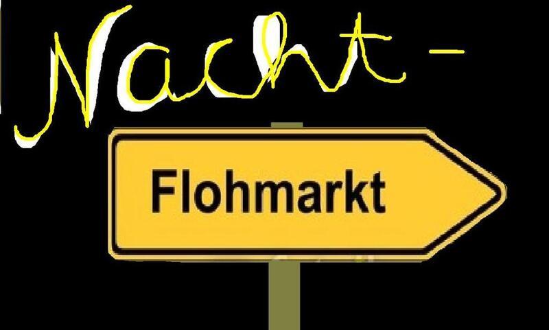 Das Schild Nachtflohmarkt gibt die Richtung vor, © Dieses Wochenende stehen einmal mehr einige Flohmärkte auf dem Programm Foto: Redaktion