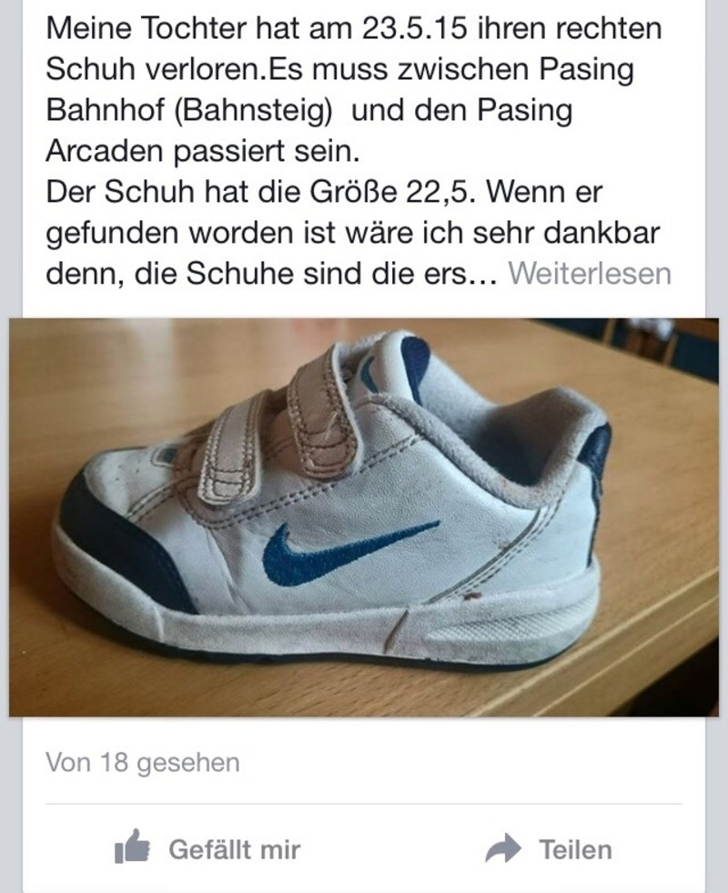 Facebook-Gruppe Verloren oder Gefunden in München, © Facebook-Gruppe Verloren oder Gefunden in München