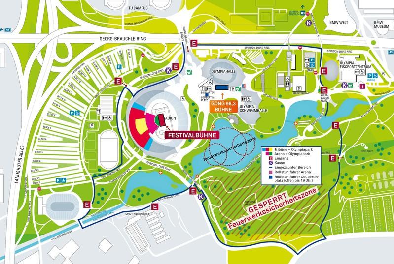 Lageplan vom Münchner Sommernachtstraum im Olympiastadion, © Münchner Sommernachtstraum
