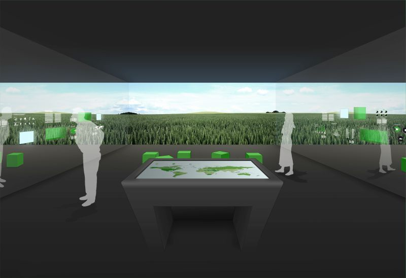 """© Ausstellung """"Landwirtschaft und Ernährung"""": Blick in Raum 2: Projektion """"Pflanzenbau"""" - Foto: Neo Studio"""