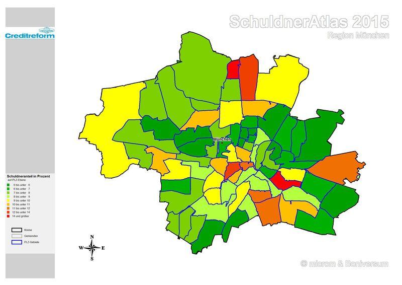 © Schuldnerquote nach Stadtteilen - Grafik: Creditreform