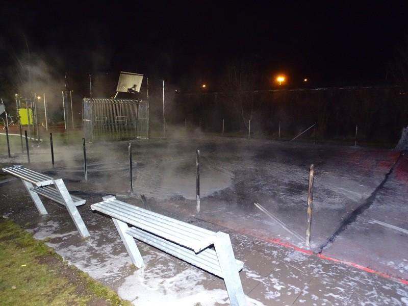 Der Spielplatz nach dem Brand am Harthaus, © Der Spielplatz nach dem Brand - Foto: Polizei