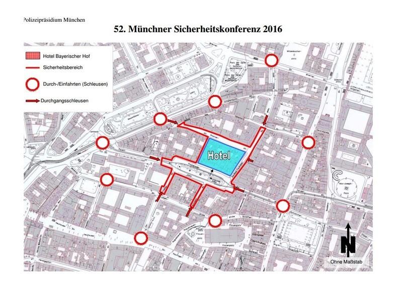 Der Sicherheitsbereich für Die Münchner Sicherheitskonferenz 2016