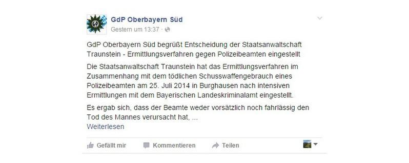 kopfschuss polizei post statement, © GdP Oberbayern Süd auf Facebook zur Einstellung der Ermittlungen