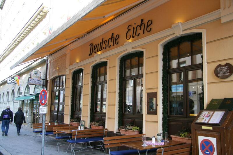 © Das Restaurant und der Eingang der Deutschen Eiche in München. - Foto: Deutsche Eiche