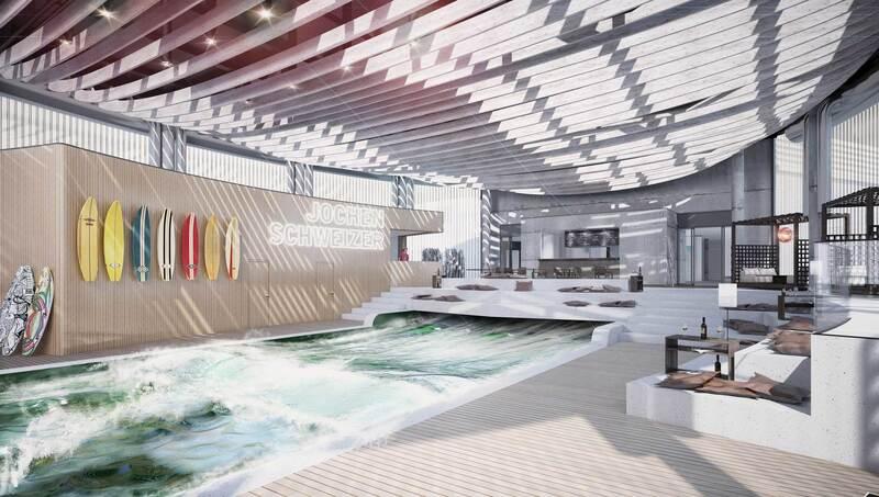 So soll der Surf-Bereich der Jochen Schweizer Arena in Taufkirchen aussehen , © Design by OSA+ Ochs Schmidhuber Architekturgesellschaft mbH
