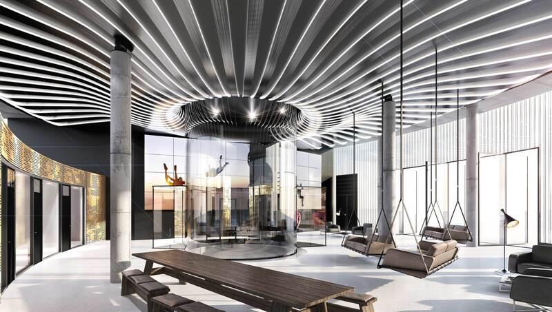 So soll der Innenraum mit Windkanal in der Jochen Schweizer Arena in Taufkirchen aussehen , © Design by OSA+ Ochs Schmidhuber Architekturgesellschaft mbH
