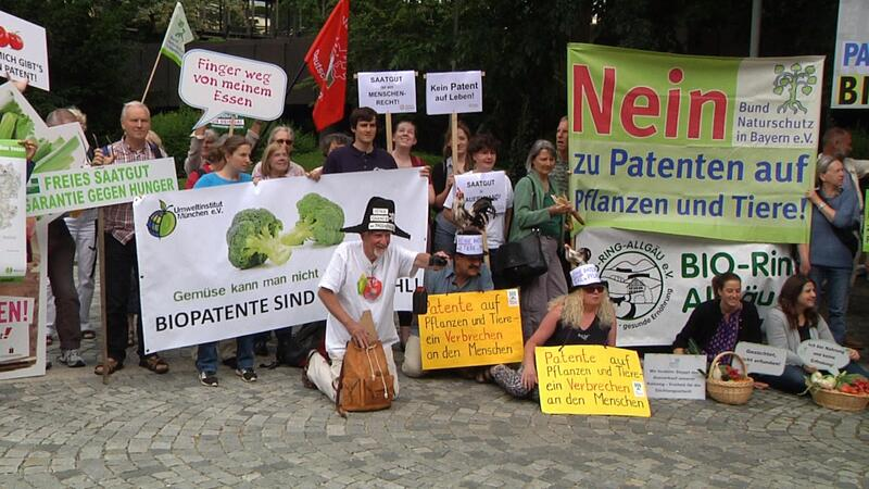 gruppe von Menschen mit Plakaten demonstrieren, © 800 000 Unterschriften wurden an das Europäische Patentamt überreicht