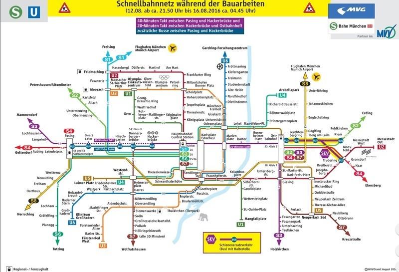 Fahrplan S-Bahn München mit Baustellen und Infos zu Beeinträchtigungen, © Quelle: Deutsche Bahn