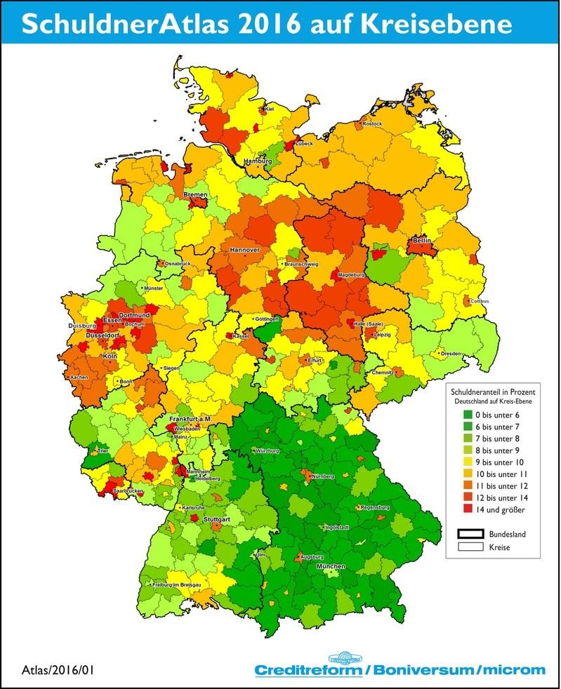 SchuldnerAtlas 2016 Deutschland, © Creditreform München