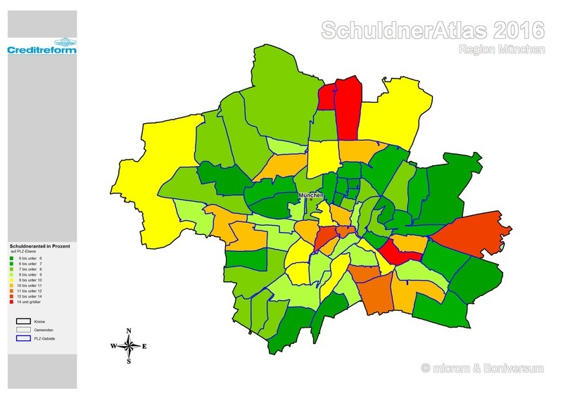 SchuldnerAtlas 2016 München, © Creditreform München