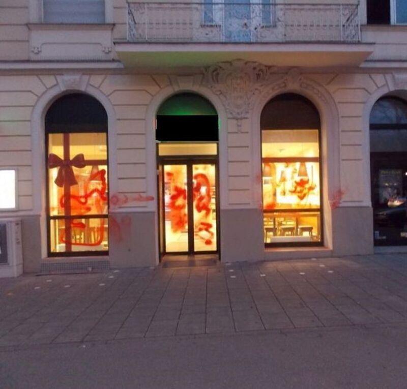 Die Metzgereien wurden in München beschmiert, © Foto: Polizei München