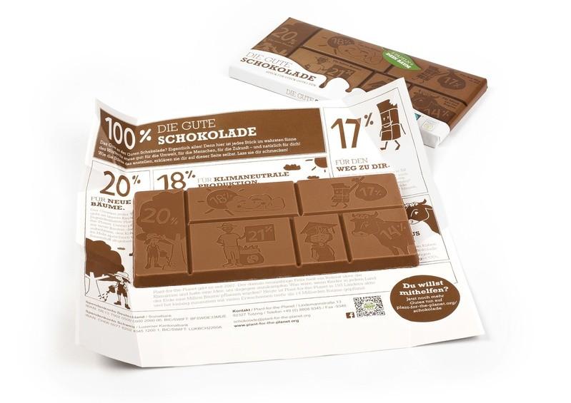 Die Gute Schokolade ist ein Non-Profit-Produkt der Initiative Plant-for-the-Planet.  , © Mit 20 Prozent des Verkaufserlöses einer Tafel wird ein Baum gepflanzt. Foto: Plant-for-the-Planet